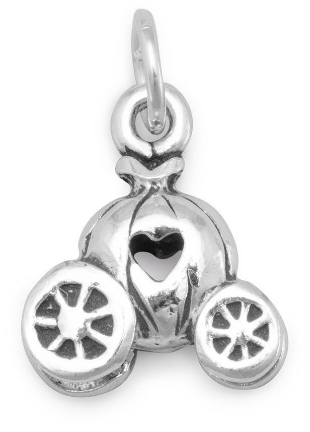 Pumpkin Carriage with Heart Charm 925 Sterling Silver
