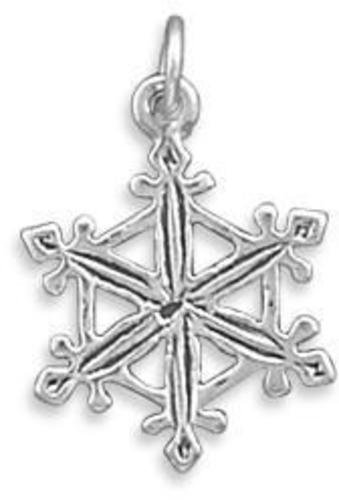 Oxidized Snowflake Charm 925 Sterling Silver