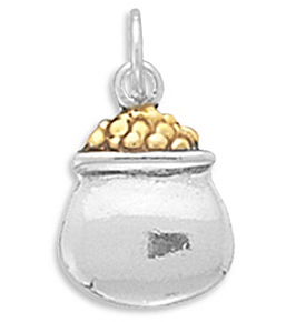 Sterling Silver/18K Gold Plated Pot of Gold Charm - LIMITED STOCK