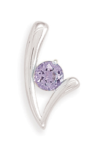 "6mm (1/4"") Round Amethyst ""V"" Look Slide 925 Sterling Silver - LIMITED STOCK"