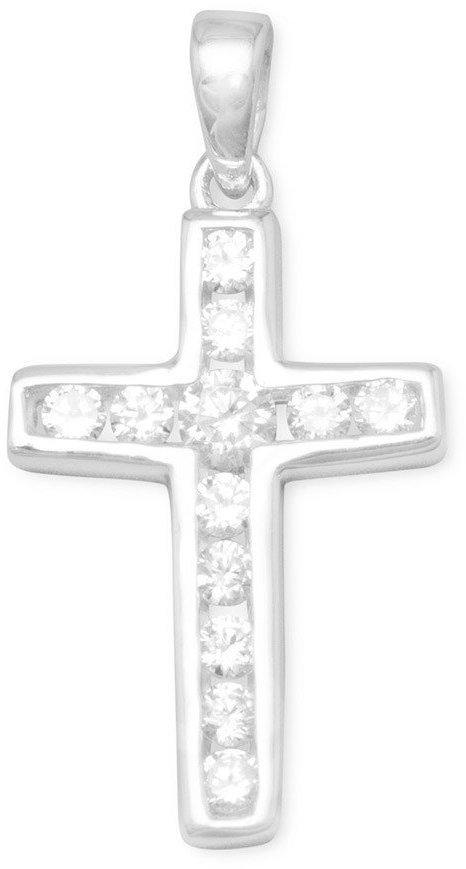 Small Channel Set CZ Cross Pendant 925 Sterling Silver