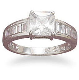 "Rhodium Plated 6.5mm (1/4"") Square CZ Ring with Graduated Baguette Sides 925 Sterling Silver"