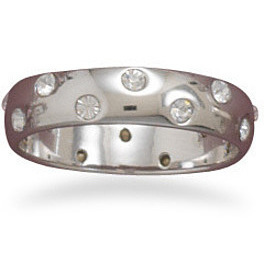 Rhodium Plated Band with Clear Rhinestones 925 Sterling Silver