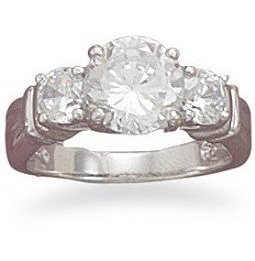 "Rhodium Plated 7mm (2/7"")/4mm CZ Ring 925 Sterling Silver"