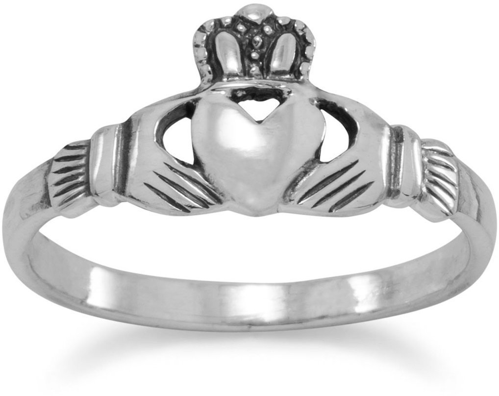 Small Polished Claddagh Ring 925 Sterling Silver
