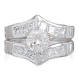 "Rhodium Plated Two Piece CZ Ring Set with 6.8mm (1/4"") Center CZ 925 Sterling Silver"
