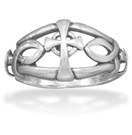 Ichthys and Cross Design Oxidized Ring 925 Sterling Silver