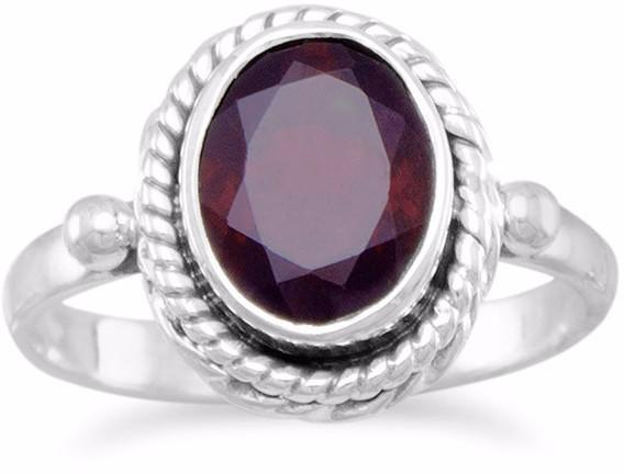Faceted Garnet Ring with Rope Edge 925 Sterling Silver