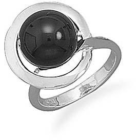 Black Onyx Bead Wrap Design Ring 925 Sterling Silver