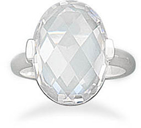 Faceted Clear CZ Ring 925 Sterling Silver