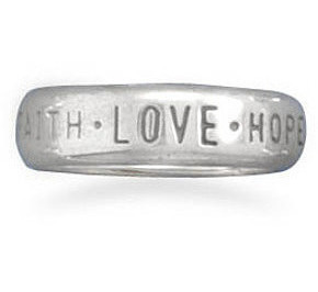Faith Hope Love Band 925 Sterling Silver