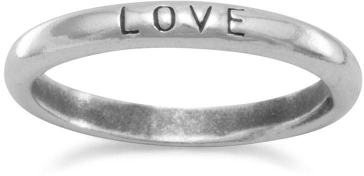 "Oxidized ""Love"" Band 925 Sterling Silver"