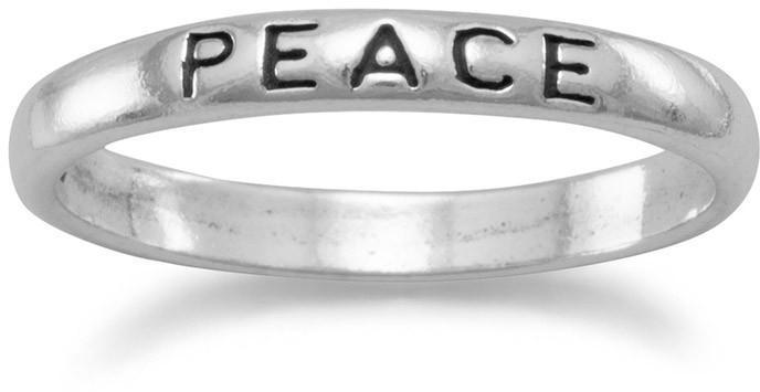 "Oxidized ""Peace"" Band 925 Sterling Silver"