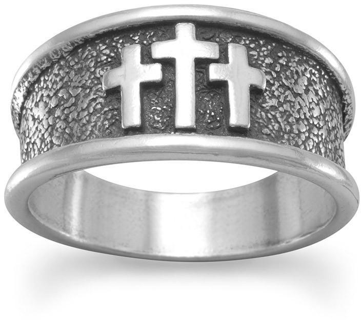 Oxidized Three Cross Ring 925 Sterling Silver