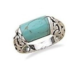 Turquoise with Filigree Design Edge Ring 925 Sterling Silver