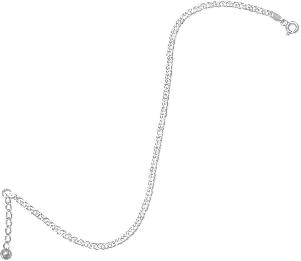 Adjustable Rombo Chain Anklet 925 Sterling Silver
