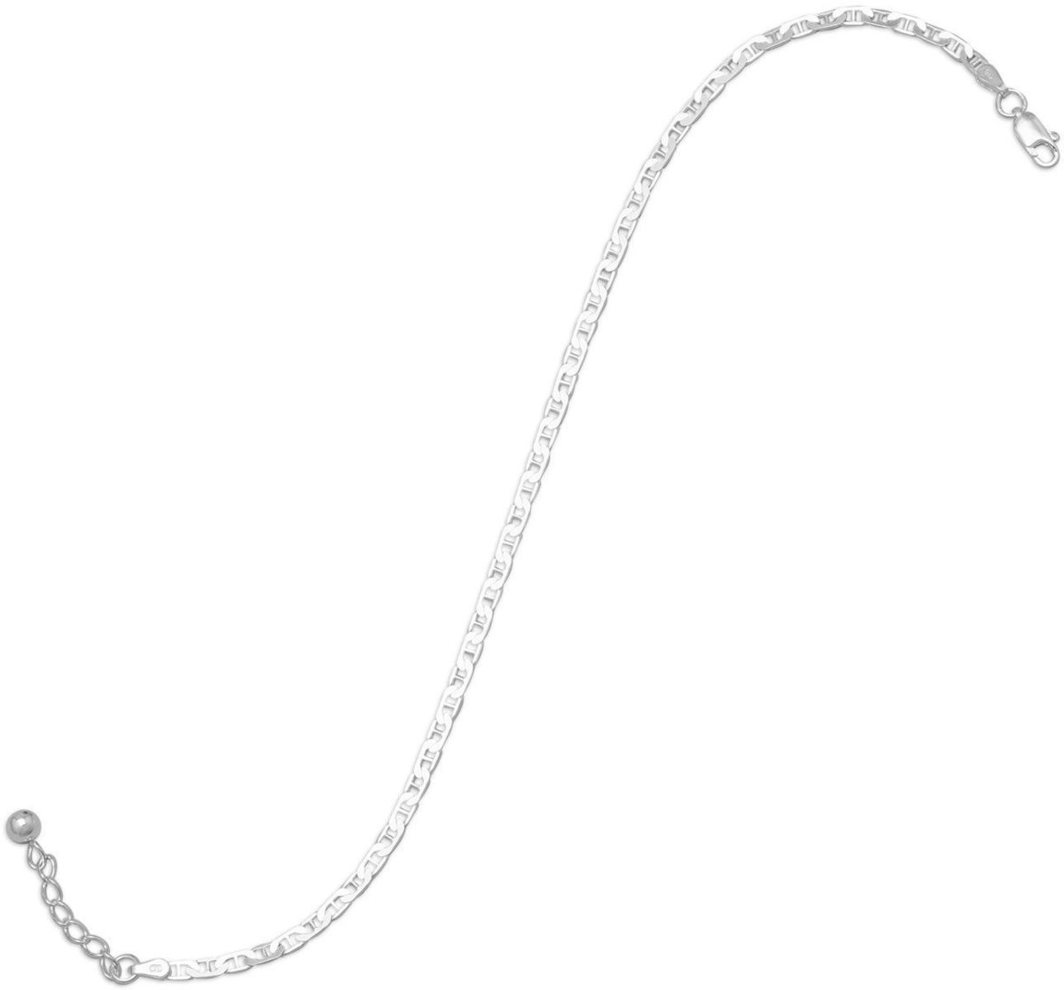 Adjustable Flat Marina Anklet 925 Sterling Silver