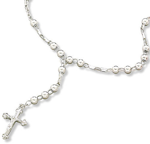 "16"" Sterling Silver Rosary Necklace"