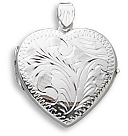 Large Etched Heart Locket 925 Sterling Silver