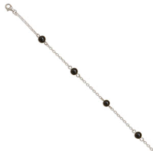 "9""+1""Extension Rhodium Plated Anklet with Black Onyx Beads 925 Sterling Silver - LIMITED STOCK"