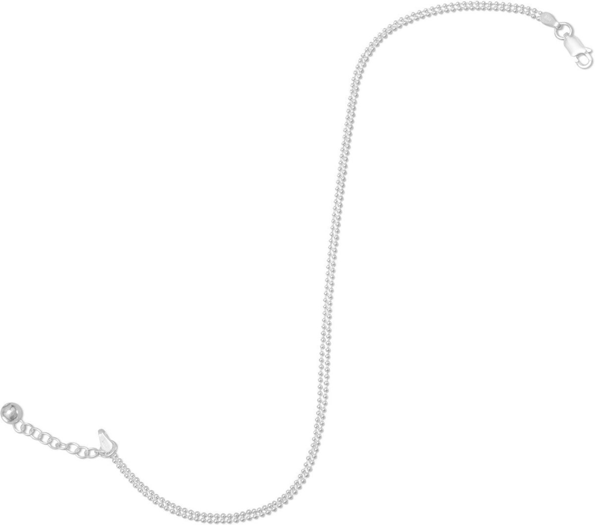 "9""+1""Extension Double Strand Bead Chain Anklet 925 Sterling Silver"