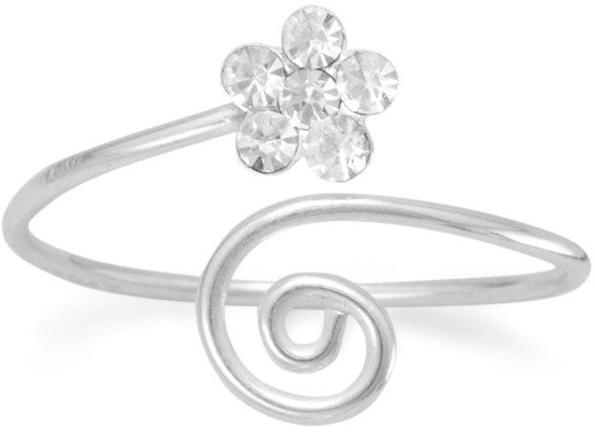 Wrap Design Toe Ring with Clear Crystal Flower 925 Sterling Silver