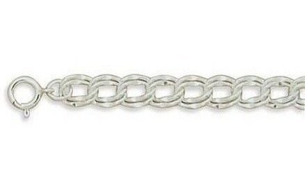 "7"" 7.5mm (1/3"") Medium Charm Bracelet 925 Sterling Silver"
