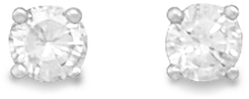 "April Birthstone Stud Earrings.  5mm (1/5"") Rhodium Plated Clear CZ. 925 Sterling Silver"
