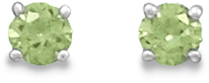 "August Birthstone Stud Earrings.  5mm (1/5"") Rhodium Plated Light Green CZ. 925 Sterling Silver"