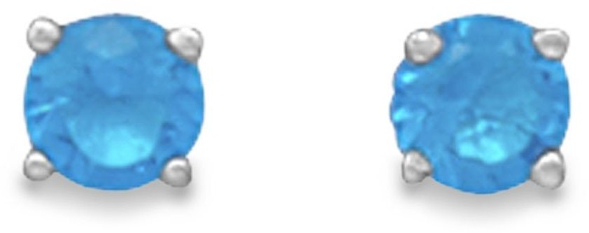 "December Birthstone Stud Earrings.  5mm (1/5"") Rhodium Plated Aqua CZ. 925 Sterling Silver"