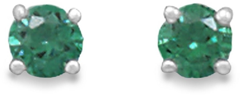 "May Birthstone Stud Earrings 5mm (1/5"") Rhodium Plated Dark Green CZ 925 Sterling Silver"