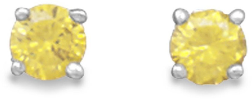 "November Birthstone Stud Earrings.  5mm (1/5"") Rhodium Plated Yellow CZ. 925 Sterling Silver"