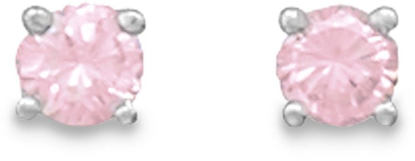 "October Birthstone Stud Earrings 5mm (1/5"") Rhodium Plated Pink CZ 925 Sterling Silver"