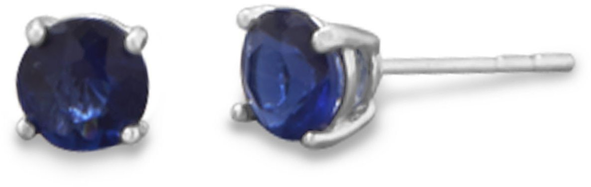 "September Birthstone Stud Earrings.  5mm (1/5"") Rhodium Plated Dark Blue CZ. 925 Sterling Silver"