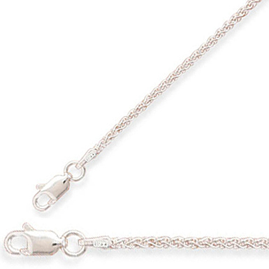 "24"" 1.6mm (0.06"") French Wheat Chain Necklace 925 Sterling Silver"