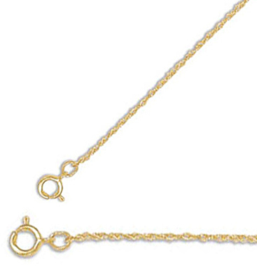 "18"" 1mm (0.04"") 14/20 Gold Filled Rope Chain Necklace"