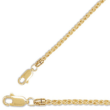 "20"" 2mm (0.08"") 14/20 Gold Filled Reverse Twisted Rope Chain Necklace"