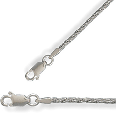"18"" 1.5mm (0.06"") Rhodium Plated Wheat Necklace 925 Sterling Silver"