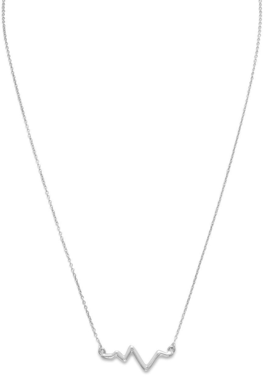 "18"" Rhodium Plated Heartbeat Necklace 925 Sterling Silver"