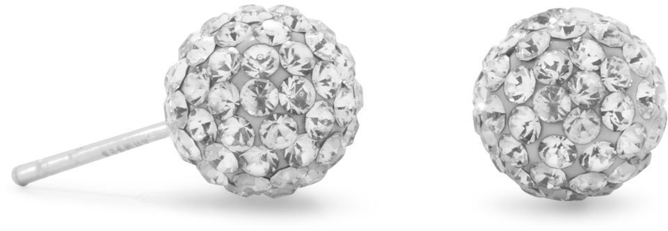 Clear Crystal Ball Stud Earrings 925 Sterling Silver