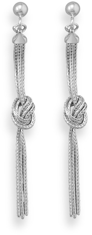 Rhodium Plated Multistrand Foxtail Chain Knot Earrings 925 Sterling Silver