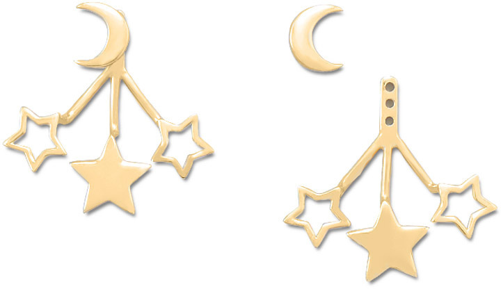14K Gold Plated Moon and Stars Front Back Earrings 925 Sterling Silver