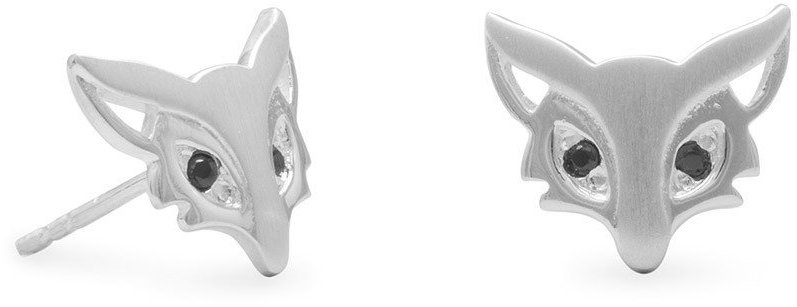 Cute Satin Finish Fox Stud Earrings 925 Sterling Silver