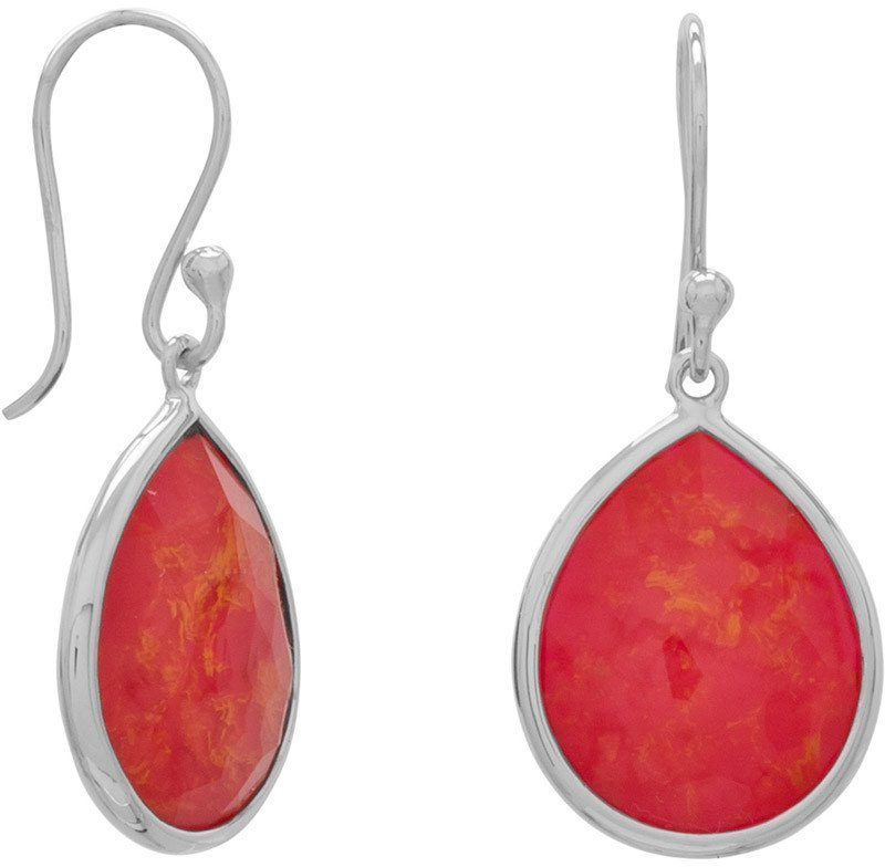 Pear Shape Freeform Faceted Quartz over Coral Drop Earrings 925 Sterling Silver