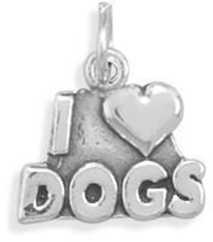 I Love Dogs Charm 925 Sterling Silver (73093-bt)