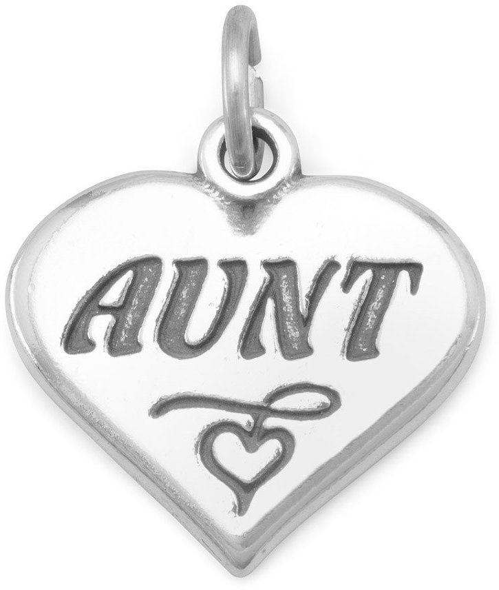 "Oxidized Heart Charm with ""Aunt"" 925 Sterling Silver"