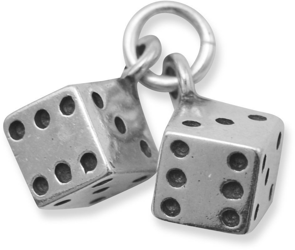 Oxidized Pair of Dice Charm 925 Sterling Silver