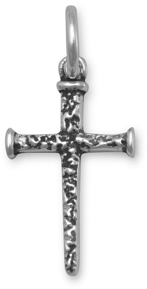 small oxidized cross of nails pendant 925 sterling silver