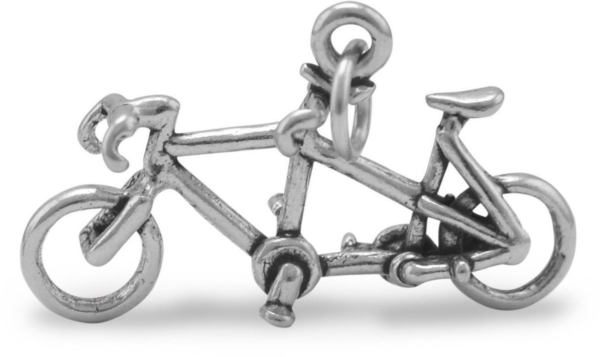 Oxidized Tandem Bicycle Charm 925 Sterling Silver