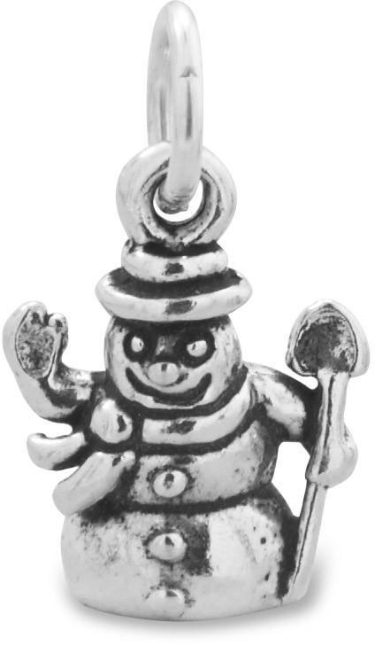 Oxidized Snowman Charm 925 Sterling Silver